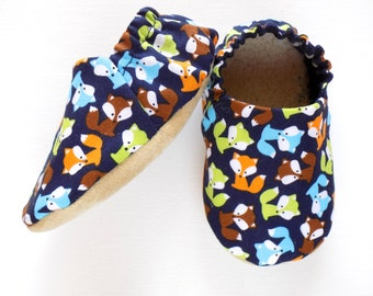 Fox Baby Boy Shoes, Baby Booties, Non Slip Soles, Baby Boy Shower Gift, Baby Soft Shoes, Slip On Baby Shoes, Baby Boy Gift