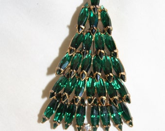 Vintage Eisenber Ice Christmas Tree Rhinestone Brooch 1960s Jewelry