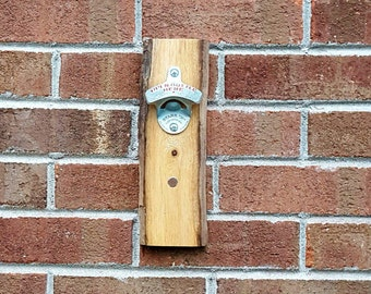 Driftwood Bottle opener with Magnet Cap Catcher, Wall mounted, StarrX opener