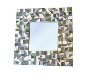 Green and Gray Wall Mirror / Glass Mosaic Accent Mirror / In Stock and Ready to Ship