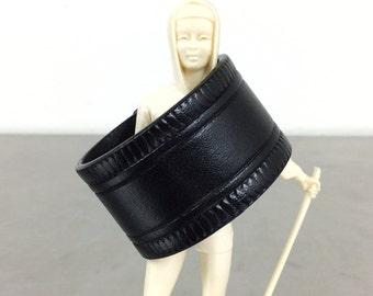 Black Leather Cuff - Snap Bracelet Wristband - Size Small