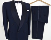 1960s Midnight Blue & Black Tuxedo / double breasted shawl lapel tux / vintage P.A.Meyer and Sons satin collar dinner suit / men's medium