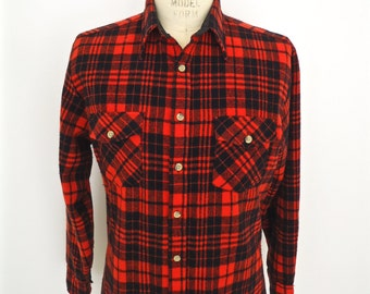 Rugged red flannel red black plaid shirt buffalo check for Red buffalo flannel shirt