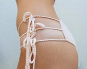 Hand Crocheted Cotton Mid Rise Tri- String Cheeky Bottoms in Blush more colors