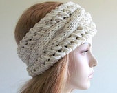 Cabled Headbands Ear Warmers  Natural White Wheat Womens Girls Accessories Headcovers Headwraps