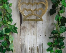 Brass Owl Trivet Up Cycled into Wind Chime with Vintage Silver Plate