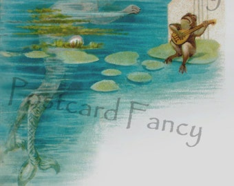 Magical MERMAID and frog Illustration from antique postcard, Instant Digital Download