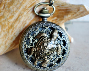 Sea turtle men's pocket watch, front case is mounted with bronze sea turtle