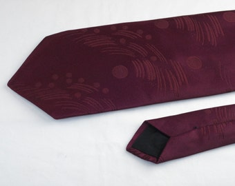 Vintage Velducci Men's Tie, Maroon with Stitched Pattern