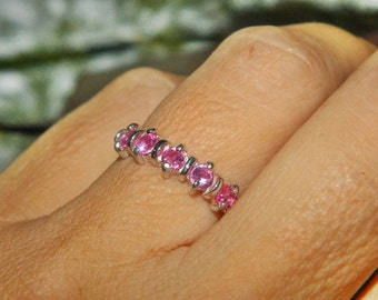 Anniversary Band, Pink Sapphire Band, Wedding Band, Sterling Silver Band, Gift For Her