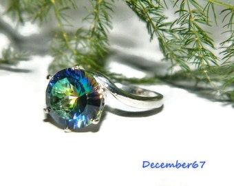 Magic Blue Quartz Ring,  Ring With Big Stone, Size 7 Ring, Sterling Silver Ring, Bride Gift