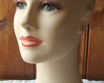 Bright Eyed Mannequin Head - Vintage Female Bust - Millinery / Earring Display with Pierced Ears - Hat or Wig Stand, Storage - Wood Base