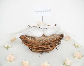 Dove Nest Wedding Cake Topper, Bird Wedding Cake Topper, Woodland Bride Groom Figurine, Whimsical Unique Rustic White Wedding Cake Topper