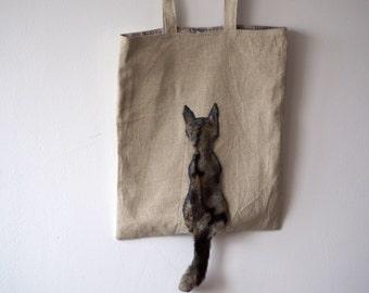 Cat Tote Bag, Linen Shoulder Bag, Cat Lover Bag, Canvas Shopping Bag, Minimalist Tote, Cat Beach Bag, Reusable Bag