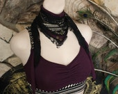 Organic Secret Pocket Scarf and Dust Mast in Amethyst Purple with Cream and Black Tribal Print and Brass chain and Snap Adornments
