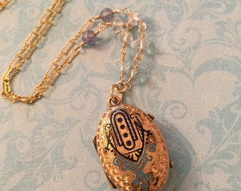 Victorian Locket with Blue, Navy, and Black Enamel, 1800's, Taille D'Epargne, Wedding Locket, Gift for Her