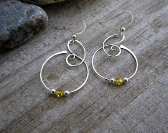 Medium Free Form Sterling Silver Earrings with Yellow Swarovski Crystals