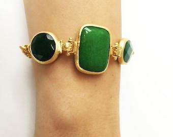 handmade, gold plated bracelet, bracelet, semi-precious stone, 22k, gold
