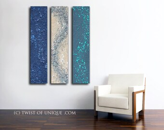 Large abstract painting / CUSTOM 3 set of paintings /48x10 (30x48) / Industrial abstract painting / Navy blue, cream, gray, green