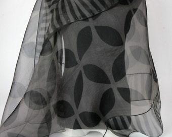 Gray Evening Wrap Hand Dyed Silk Floral Organza Shibori Silk Wrap
