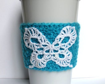 Turquoise and White Butterfly Crochet Coffee Cup Cozy