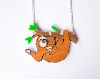 Sloth Necklace. Animal Necklace. Sloth Baby Necklace. Statement Necklace. Australia Pendant Necklace. Acrylic Jewellery. Eco Friendly