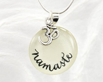 Namaste Necklace, Yoga Jewelry, OM Charm, Inspirational Jewelry, Yoga Teacher Gift, Yoga Wear, Unique, Handmade, Meditation Necklace