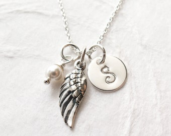Angel Wing Necklace, Personalized, First Communion Necklace, Gift for Goddaughter, Religious Jewelry, Confirmation Gift, Sterling Silver