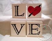 Love Letters Wood Sign Set