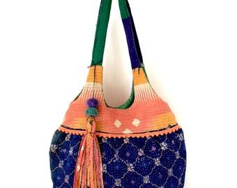 kantha bag, kantha quilt bag, indian bag, shoulder bag, recycled bag, ooak