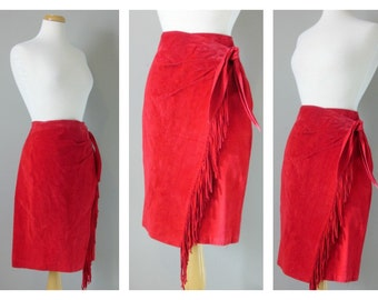 VIntage RED SUEDE FRINGE Skirt/size Small-Medium
