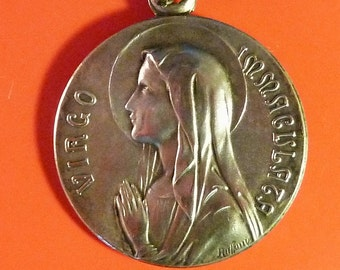 Antique Large  French Religious  Medal Virgin Mary  Lourdes Signed Ruffony  Antique Pendant Old  Charm Ms/1