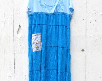 Casual Dresses, upcycled clothing for women, blue maxi dress, loose fitting dress, comfortable t shirt dress, up cycled dresses, funky dres