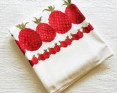 Vintage Romantic Home Pomegranate Red, Celadon Green, and Snow White Pineapple Table Linen, Olives and Doves