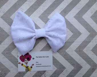 White Eyelet Fabric Hair Bow
