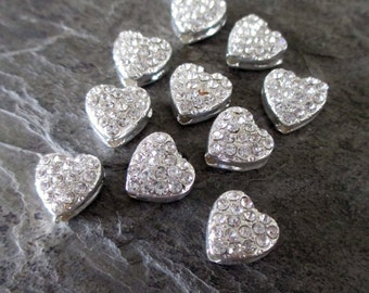 10 mm rhinestone heart beads silver toned drilled lengthwise valentine love sweetheart jewelry supplies, lot of 10 pcs