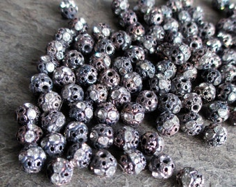 6 mm rhinestone beads oxidized silver aged antiqued filigree clear vintage style small, lot of 10 pcs