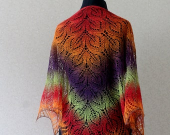 Multicolor  triangular shawl with leaf pattern, hand knit shawl