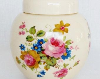 Vintage Sadler Staffordshire England Small Lidded Floral Ginger Jar, Sadler Staffordshire Ginger Jar, Vintage Sadler Ginger Jar, Home Decor,