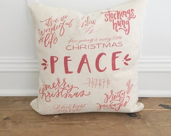 Christmas Words Pillow Cover