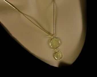 Hammered Gold Coin Pendants, Gold coin necklace, Gold coin pendant, Coin Pendant Charms, Gold necklace
