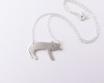 Silver Cat Necklace - Silver Cat Jewelry - Cat Pendant - Animal Necklace - Animal Lover Gift - Pet Jewellery - Cat Lover Gift for Her