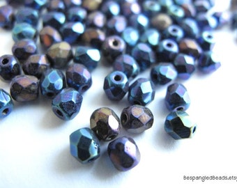 Blue Iris 4mm Czech Glass Beads - Fire Polished Loose Beads 50 pc