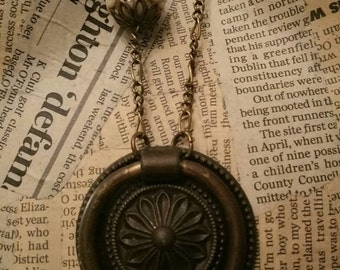 Steampunk  Necklace Vintage Pull Handle Necklace