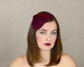 Burgundy Felt Teardrop Fascinator with Birdcage Veil - Red Wine Fascinator with Veil - Marsala Headpiece