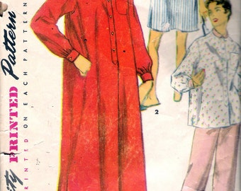 Vintage 1954 Simplicity 4907 Misses Nightshirt in Two Lengths & Two-Piece Pajamas Sewing Pattern Size 14 Bust 32""