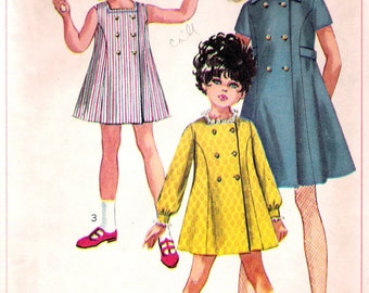 """Vintage 1968 Simplicity 8071 Mod  Girl's Dress  Sewing Pattern Size 12 Breast 30"""""""