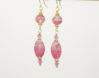 Rose Pink & Gold and Glass Dangle Earrings