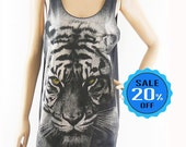 Tiger Tank Top Leopard shirt Women Tank Top Unisex Tank Top Dark Brown T-Shirt Screen Print Size M