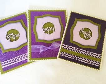 Set of 3 greeting cards - for you - thank you - enjoy - purple - olive green - Embossed - die cut